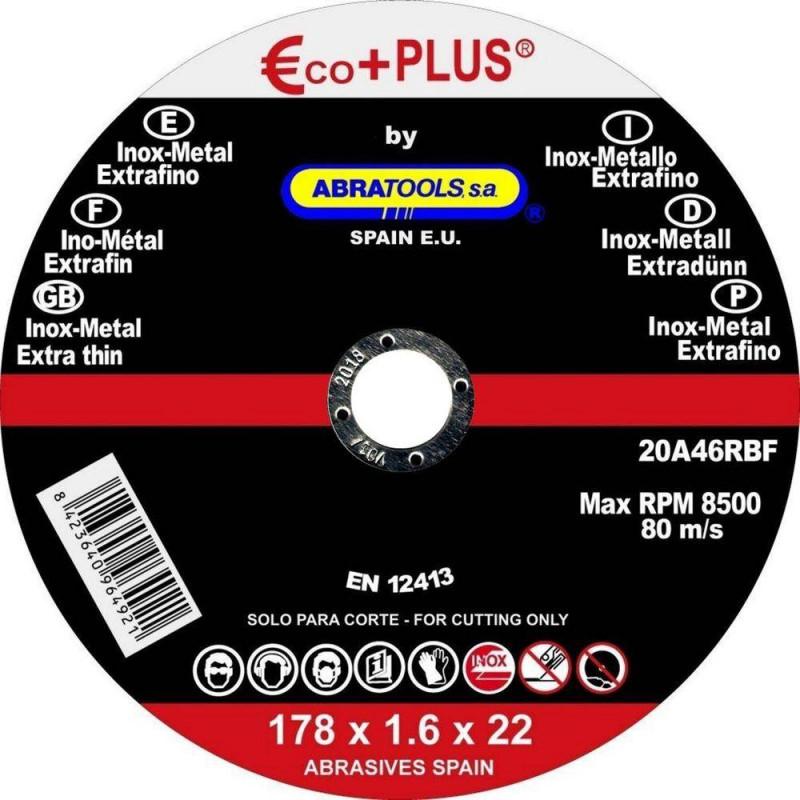 DISCO DE CORTE EXTRAFINO PARA METAL 178*1,6*22