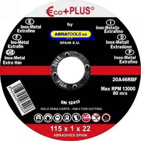 DISCO DE CORTE ACERO INOX 115*1*22 ECO-PLUS