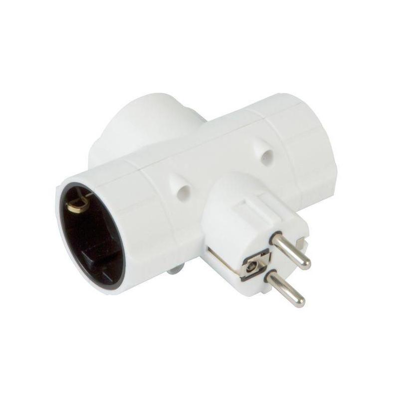Adaptador de corriente con tres salidas blanco.